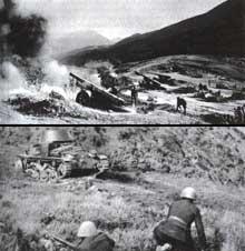 Les Grecs font mieux que résister à l'offensive italienne : ils vont même contre-attaquer. Batterie et blindé italiens ; front albanais, mars 1941