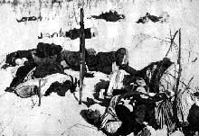 Contre offensive soviétique dans la région d'Izioum : cadavres allemands