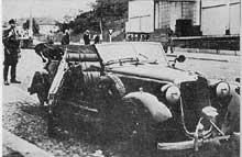 La Mercédès de Heydrich, l'« Ange Noir », après l'attentat de Prague