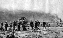 El Alamein : le 30 août 1942, Rommel déclenche l'attaque. Les blindés de la 21è division blindée foncent vers la mer mais vont se heurter à de nombreux champs de mines