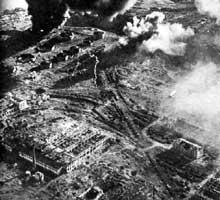 Aperçu aérien de la ville ruinée de Stalingrad