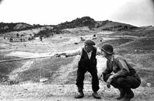 Magnifique photo de Robert Capa de la campagne de Sicile. 4 ou 5 août 1943