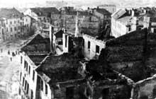 Les ruines du ghetto de Lublin après les massacres de l'Erntefest