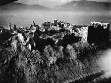 Les ruines du Mont Cassin après le bombardement