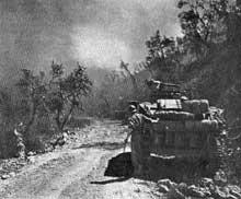 Les forces françaises lors d'un engagement sur le Garigliano