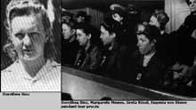 Dorothéa Binz et ses coaccusées au tribunal lors du procès de Ravensbrück