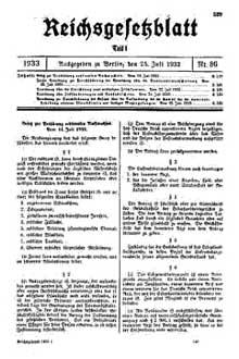 La loi du 14 juillet 1933 qui introduit la stérilisation forcée des malades mentaux, publiée dans le journal du 25 juillet