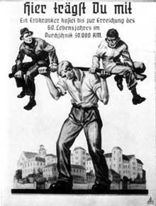 Affiche de propagande de 1936: «jusqu'à 60 ans, un malade «héréditaire» coûte en moyenne 50000 Reichsmarks»