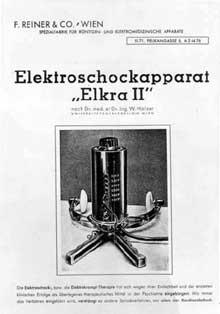 De 1943 à avril 1945 le docteur Emil Gelny élimina plusieurs centaines de patients des établissements psychiatriques de Maria Gugging et de Mauer-Öhling en Autriche par surdoses de médicaments mais aussi avec ce appareil à électrochocs…