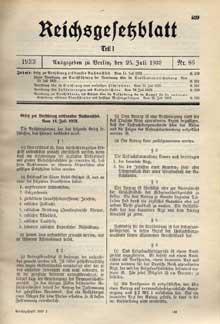 ��Gesetz zur Verh�tung erbkranken Nachwuchses��, loi du 14 juillet 1933 emp�chant la r�g�n�ration des maladies h�r�ditaires. Journal officiel du 25 juillet 1933.
