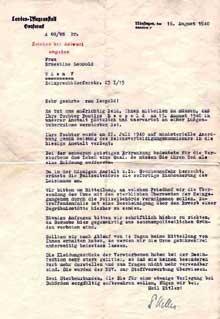 Grafeneck�: avis de d�c�s envoy� � Frau L�opold le 16 ao�t 1940, lui annon�ant le d�c�s de sa fille d�une tuberculose pulmonaire, ainsi que l�incin�ration du corps justifi�e oar le danger d��pid�mie