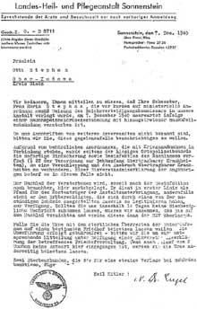 Sonnenstein: faire part de décès envoyé le 7 décembre 1940 à Melle Stephan Otti, lui annonçant le décès de sa sœur Maria d'une inflammation intestinale, ainsi que son incinération pour cause de guerre