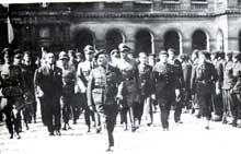 La Milice et son chef, Darnand, avec Oberg et Knochen