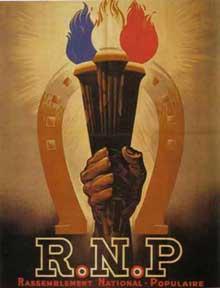 Affiche du mouvement fasciste français « Rassemblement national populaire » de Marcel Déat