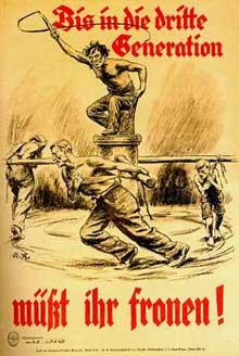 Affiche de propagande allemande contre les réparations : « Nous devrons payer jusqu'à la troisième génération ! »