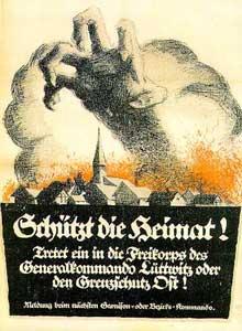 1920 : « Protégez la patrie ! » : affiche appelant à s'enrôler dans le Freikorps Lüttwitz (Putsch de Kapp)
