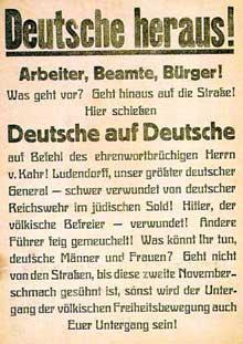 Affiche appelant au soulèvement populaire pour soutenir Ludendorff et <a class=