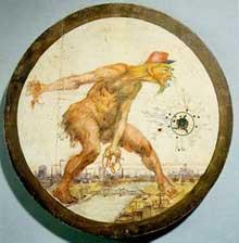 « Carton » pour le tir représentant l'ogre français dans la Ruhr. 1923