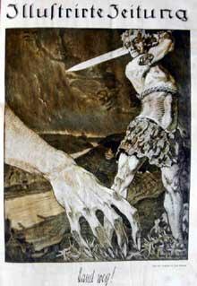 Affiche de propagande contre la mainmise des Alliés sur l'Allemagne. Mai 1922. Journal illustré du 22 mai 1922