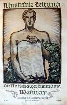 Couverture d'un numéro de mars 1919 de l'« illustrierte Zeitung » : la constitution de Weimar