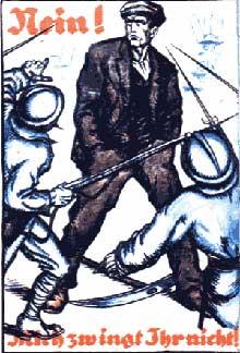 Affiche du « Ruhrkampf », la résistance passive à l'occupation de la Ruhr par la France, la Belgique et la Grande Bretagne