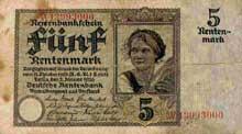 Un billet de 5 Rentenmarks