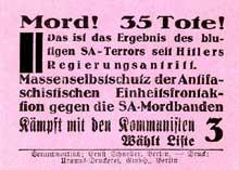 La campagne électorale de 1932 est sanglante, particulièrement à Hambourg : le « dimanche sanglant d'Altona » fait de nombreux morts dans le camp communistes. Affiche électorale du parti communiste