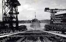 20 mai 1930: lancement à Kiel du « Deutschland » un des fameux croiseurs du type A.