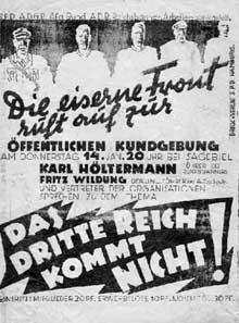 Affiche de l'« Eiserne Front » datant du 14 janvier 1932 et appelant à la lutte contre le nazisme et le troisième Reich