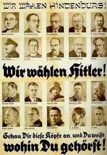Affiche nazie de la campagne présidentielle de 1932 : elle désigne ceux qui votent Hindenburg comme juifs