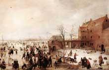 Hendrick Avercamp: scène sur la glace près d'une ville. Vers 1615. Huile sur bois, 58 x 90cm. Londres, National Gallery