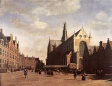 Gerrit Berckheyden: la place du marché et l'église saint Bavon de Haarlem. 1696. Huile sur toile, 69 x 90 cm. Haarlem, musée Frans Hals