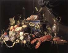 Jan David de Hem: nature morte aux fruits et à la langouste. 1648-1649. Huile sur toile, 95 x 120 cm. Berlin, Staatliche Museen