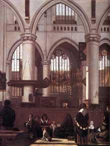 Emmanuel de Witte: l'intérieur de la Oude Kerk d'Amsterdam durant un sermon. 1658-1659. Huile sur toile, 79 x 63 cm. Londres, National Gallery