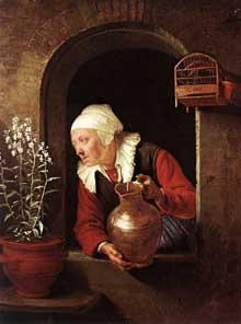 Gerrit (Gérard) Dou: vieille femme arrosant ses fleurs. 1660-1665. Huile sur toile, 28,3 x 22,8 cm. Vienne, Kunsthistorisches Museum