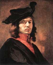 Carel Fabritius: autoportrait. Huile sur panneau, 62 x 51 cm. Munich, Alte Pinakothek