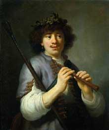 Govert Teunisz Flinck: Rembrandt en berger avec la houlette et la flûte. Vers 1636. Huile sur toile, 64 x 45 cm. Amsterdam Rijksmuseum