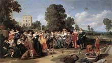 Dirk Hals: la fête champêtre. 1627. Huile sur panneau, 78 x 137 cm. Amsterdam, Rijksmuseum