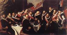 Franz Hals: le banquet des arquebusiers de Saint Georges. 1616. Huile sur toile, 175 x 324 cm. Haarlem, Musée Frans Hals