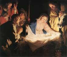 Gerrit van Honthorst: l'adoration des bergers. 1622. Huile sur toile.164 x 170 cm. Cologne, Wallraf-Richartz Museum