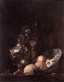 Willem Kalf: nature morte. Huile sur toile. Amsterdam, Rijksmuseum