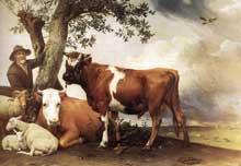 Paulus Potter: le jeune taureau. 1647. Huile sur toile, 236 x 339 cm. La Haye, Mauritshui