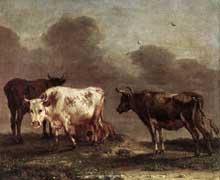 Paulus Potter: bœufs dans la prairie. Huile sur toile. Amsterdam, Rijksmuseum