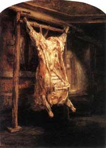 La carcasse de bœuf. 1655. Huile sur bois,  94 x 69 cm. Paris. Musée du Louvre