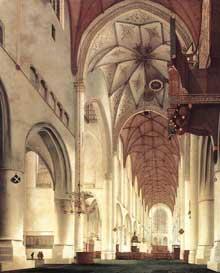 Pieter Saenredman: intérieur de l'église saint Bavon de Haarlem. 1648. Huile sur bois, 200 x 140 cm. Edimbourg, National Gallery of Scotland