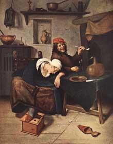 Jan Steen: le buveur. Vers 1660. Huile sur toile, 39 x 30 cm. Saint-Pétersbourg, musée de l'Hermitage.