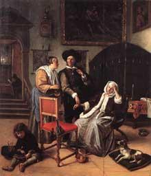 Jan Steen: la visite du docteur. 1658-1662. Huile sur panneau, 49 x 42 cm Londres, Apsley House