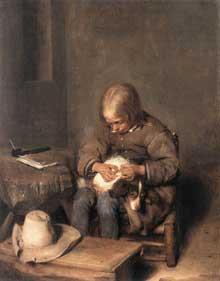Gérard Ter Borch: jeune garçon épuillant son chien. Vers 1665. Huile sur toile, 34,4 x 27,1 cm. Munich,Alte Pinakothek