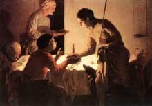 Hendrick ter Brugghen: le souper. Huile sur toile. Dresde, Gemäldegalerie
