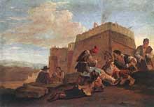 Peter Van Lear dit Bambochhio: paysage avec joueurs. Huile sur panneau, 33,5 x 47cm; Budapest, musée des Beaux Arts